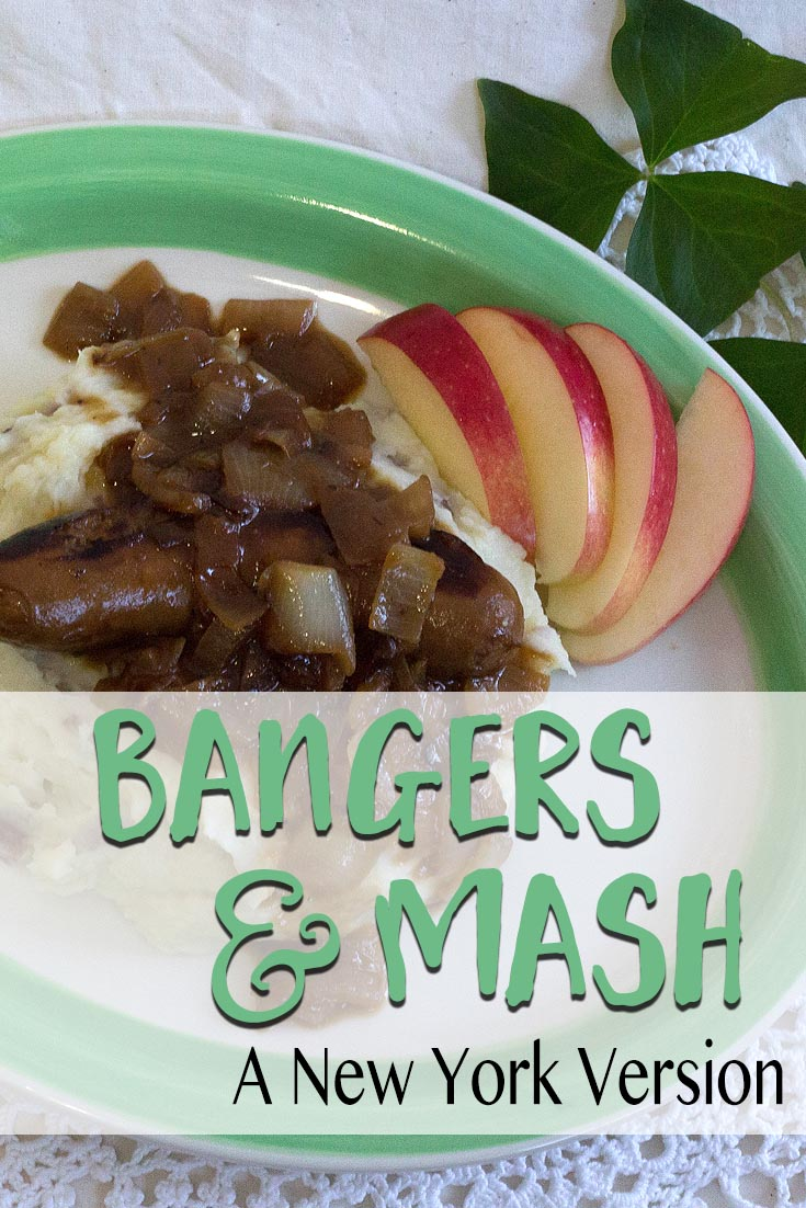 Bangers and Mash, with hard apple cider. Try an authentic Irish dinner this St. Patrick's Day.